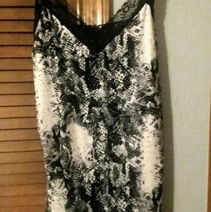 Snake print lace trimmed camisol